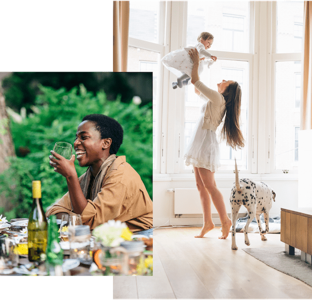 Woman laughing and drinking wine, woman playing with her baby and dog in her living room